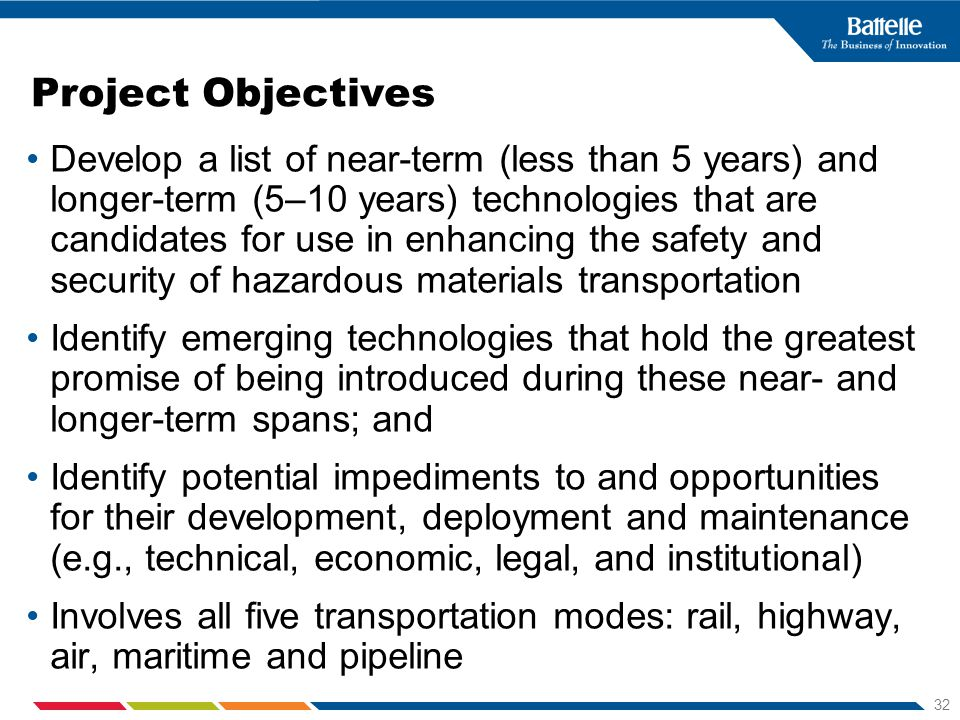 32 Project Objectives Develop a list of near-term (less than 5 years) and longer-term (5–10 years) technologies that are candidates for use in enhanci