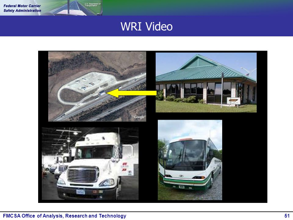 FMCSA Office of Analysis, Research and Technology51 WRI Video