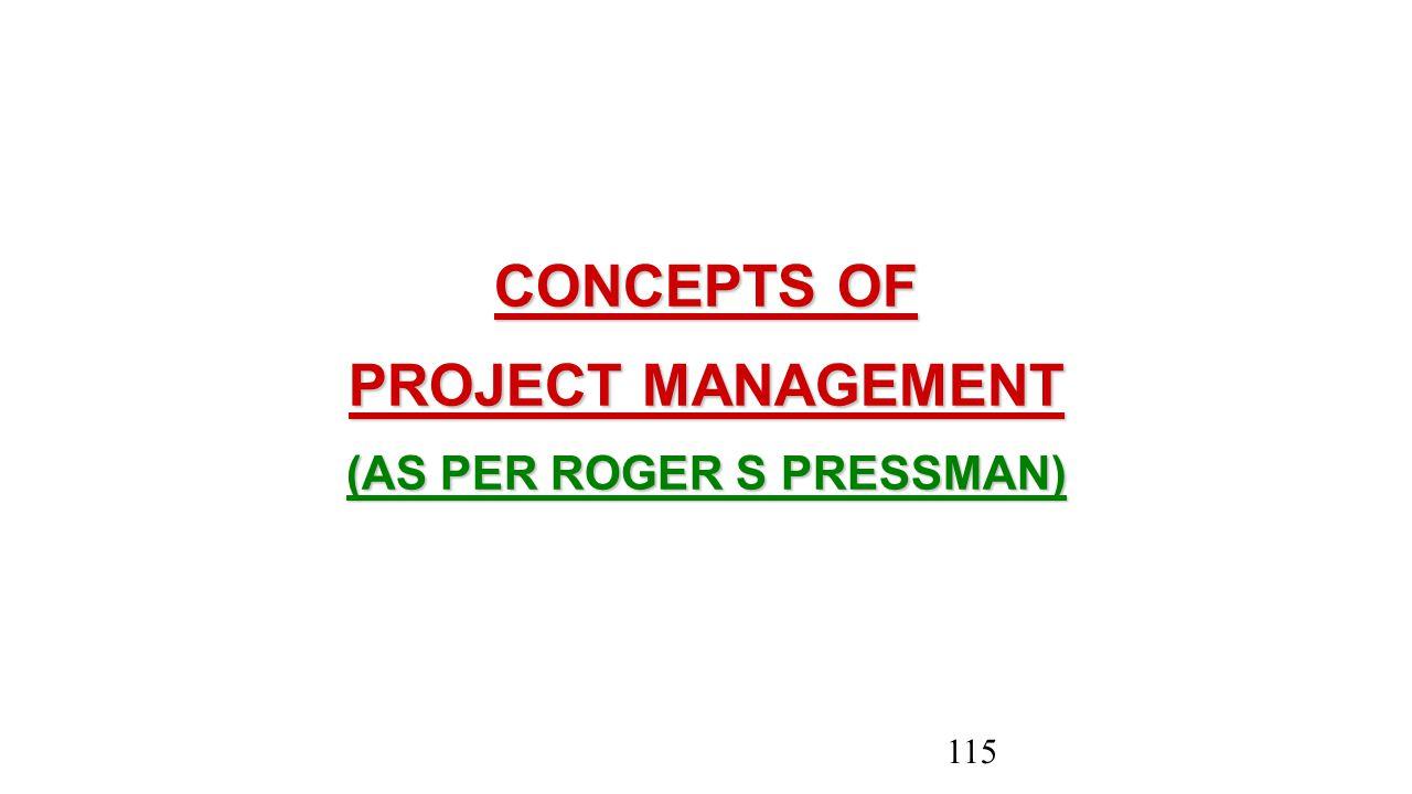 CONCEPTS OF PROJECT MANAGEMENT (AS PER ROGER S PRESSMAN) 115