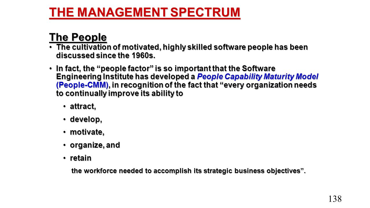 THE MANAGEMENT SPECTRUM The People The cultivation of motivated, highly skilled software people has been discussed since the 1960s.The cultivation of