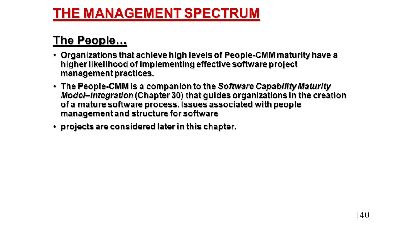 THE MANAGEMENT SPECTRUM The People… Organizations that achieve high levels of People-CMM maturity have a higher likelihood of implementing effective s