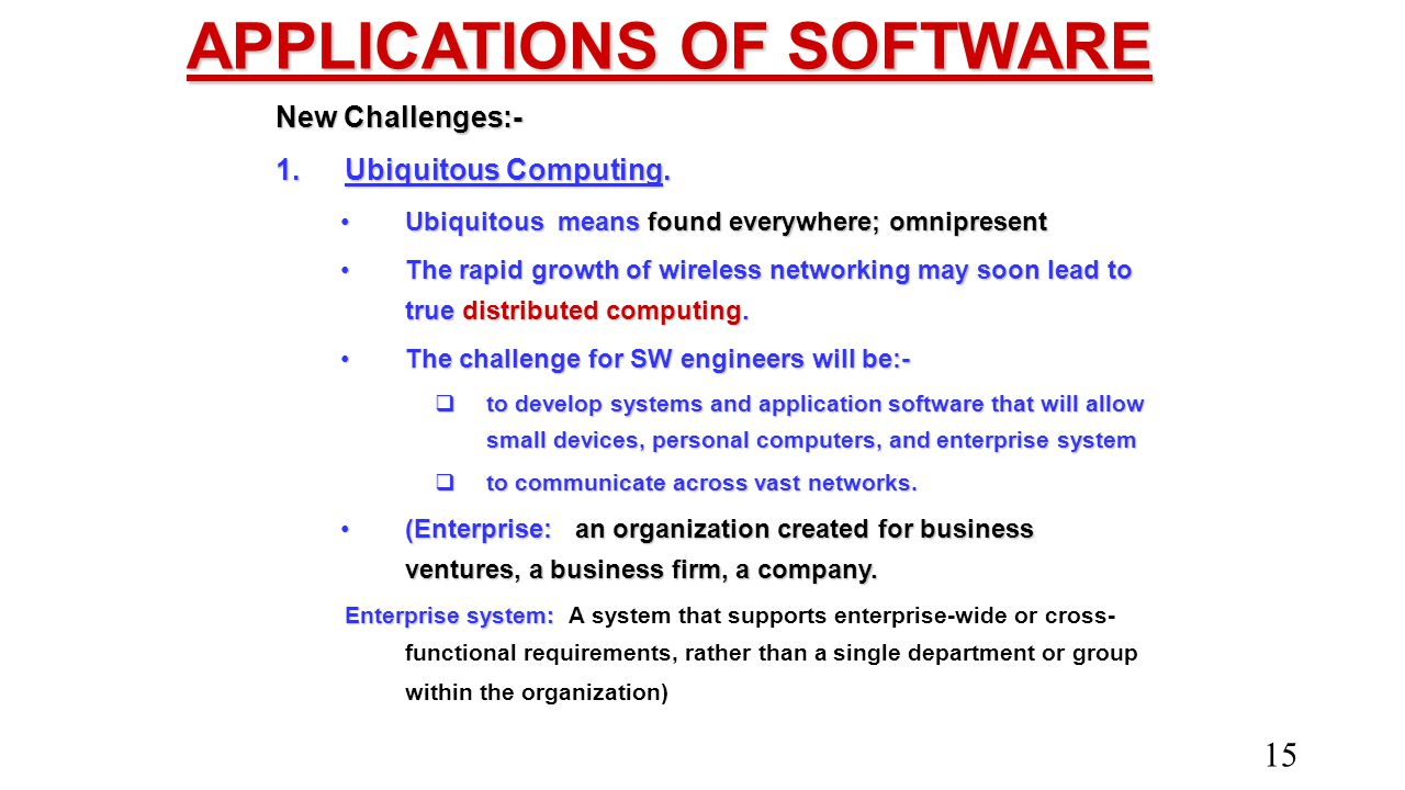 APPLICATIONS OF SOFTWARE New Challenges:- 1.Ubiquitous Computing. Ubiquitous means found everywhere; omnipresentUbiquitous means found everywhere; omn