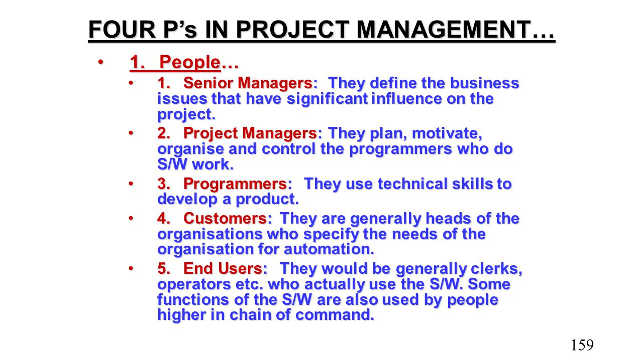 FOUR P's IN PROJECT MANAGEMENT… 1.People…1.People… 1.Senior Managers:They define the business issues that have significant influence on the project.1.