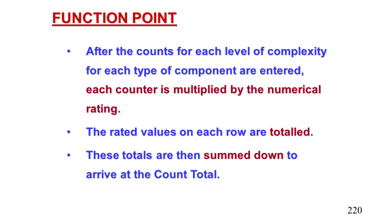 FUNCTION POINT After the counts for each level of complexity for each type of component are entered, each counter is multiplied by the numerical ratin