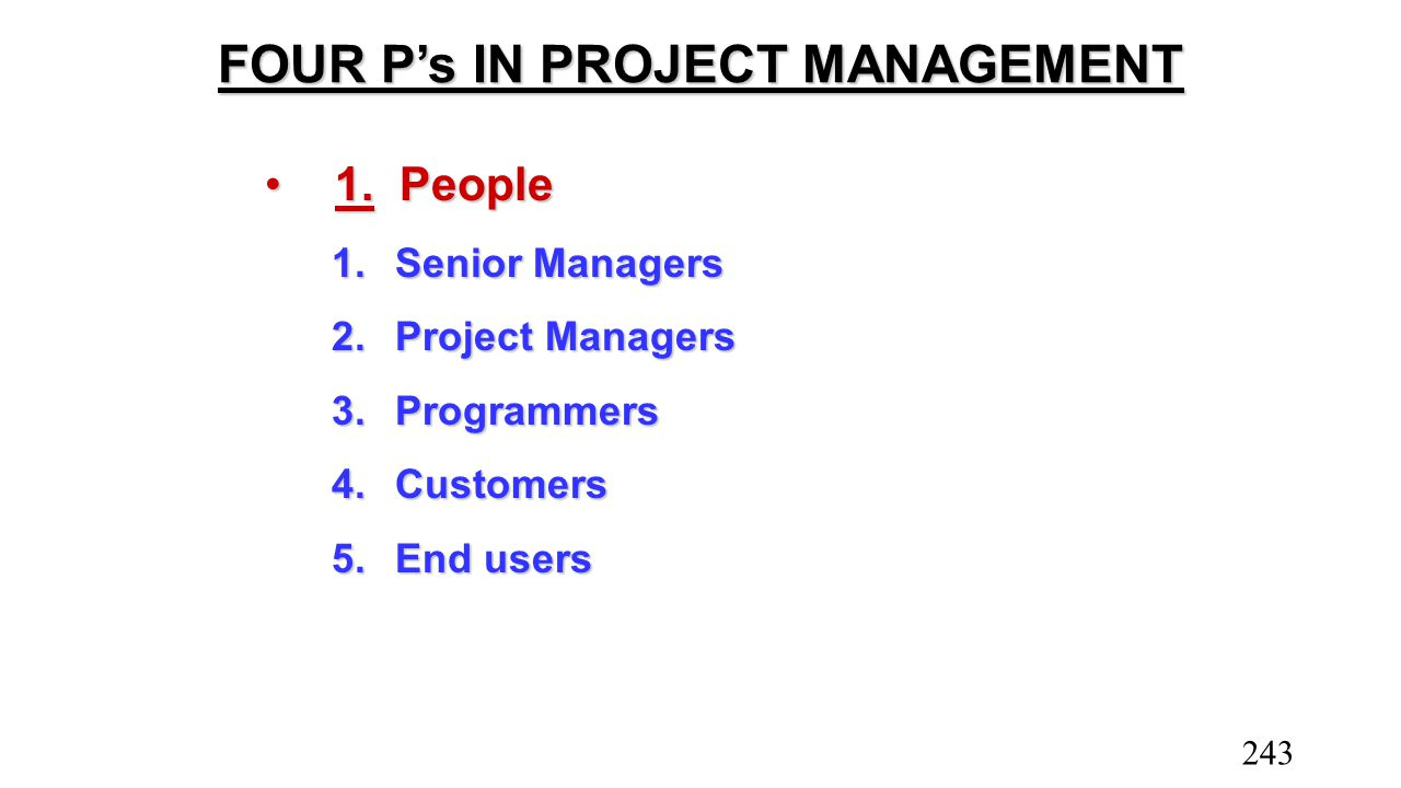 FOUR P's IN PROJECT MANAGEMENT 1.People1.People 1.Senior Managers 2.Project Managers 3.Programmers 4.Customers 5.End users 243