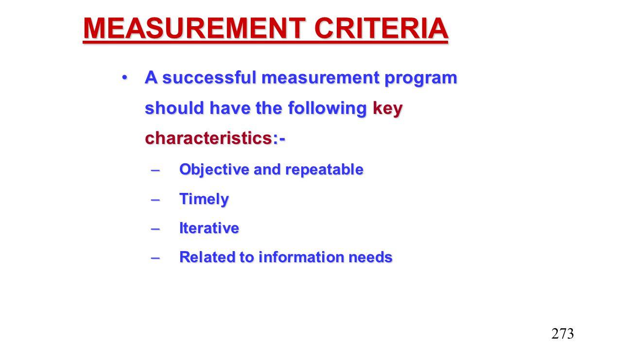 MEASUREMENT CRITERIA A successful measurement program should have the following key characteristics:-A successful measurement program should have the