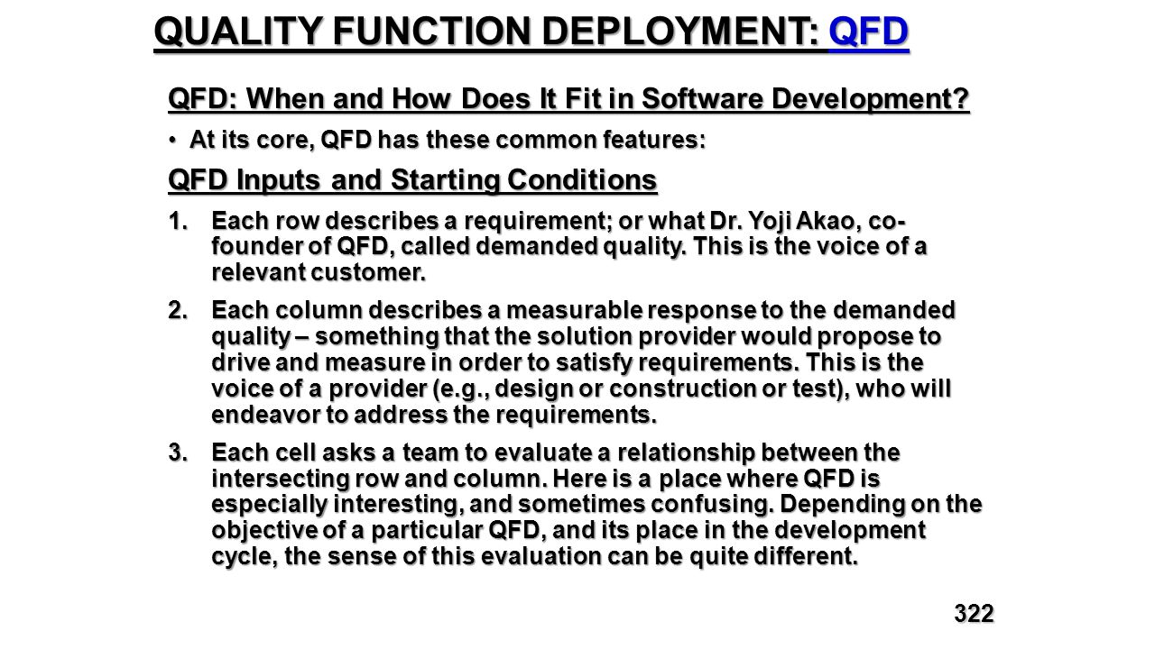 QUALITY FUNCTION DEPLOYMENT: QFD QFD: When and How Does It Fit in Software Development? At its core, QFD has these common features:At its core, QFD ha