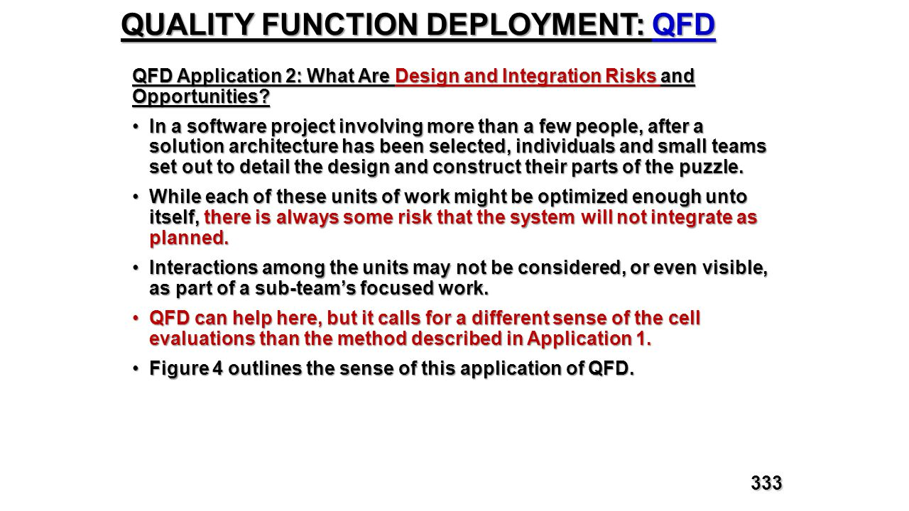 QUALITY FUNCTION DEPLOYMENT: QFD QFD Application 2: What Are Design and Integration Risks and Opportunities? In a software project involving more than