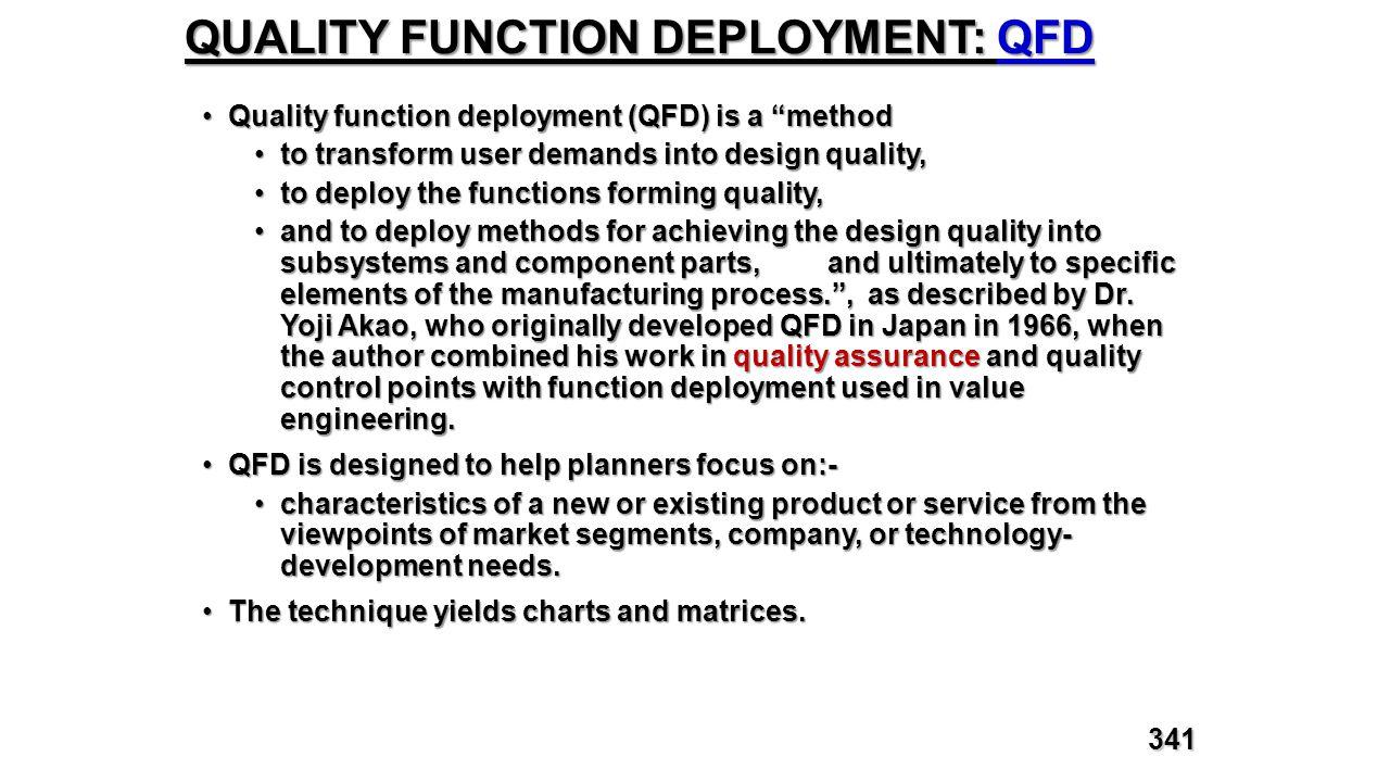 "QUALITY FUNCTION DEPLOYMENT: QFD Quality function deployment (QFD) is a ""methodQuality function deployment (QFD) is a ""method to transform user demand"