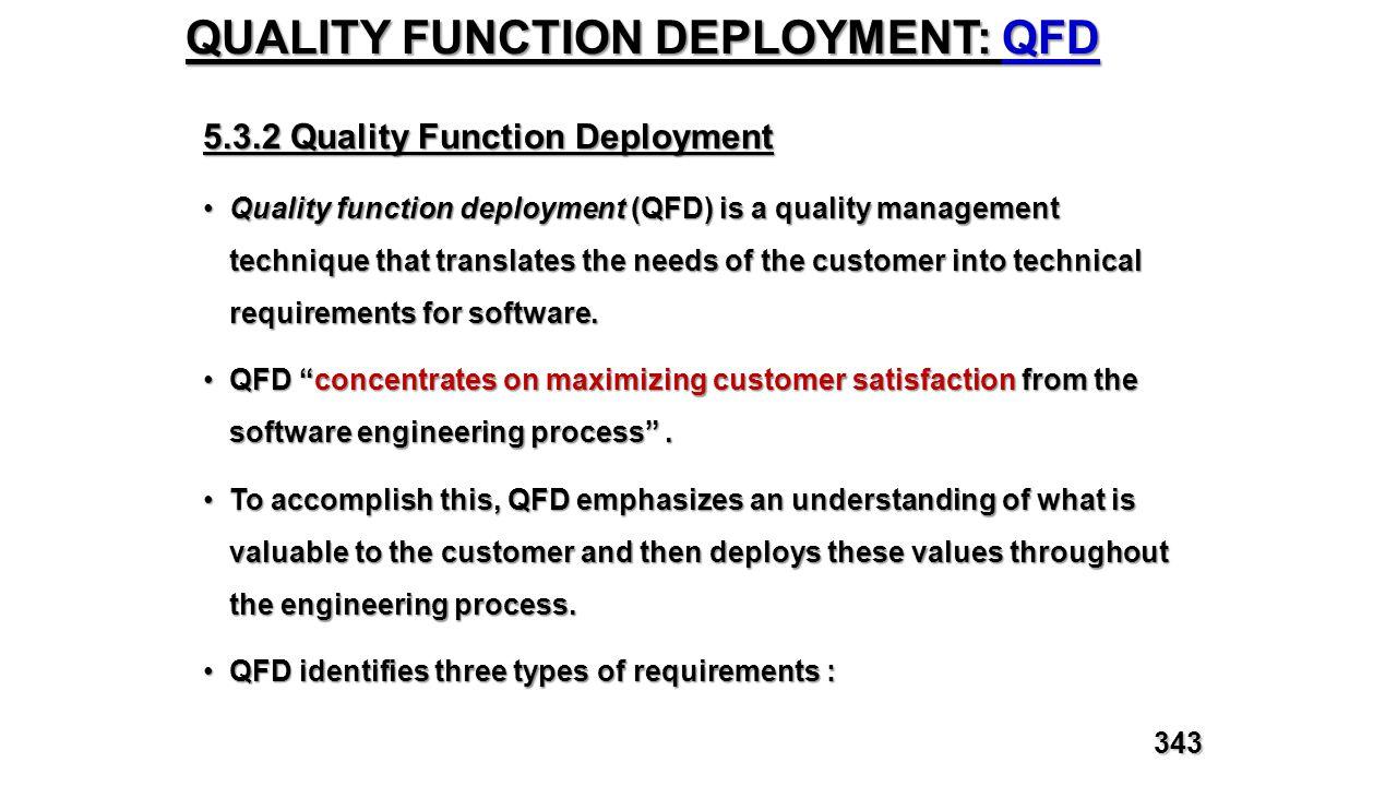 QUALITY FUNCTION DEPLOYMENT: QFD 5.3.2 Quality Function Deployment Quality function deployment (QFD) is a quality management technique that translates