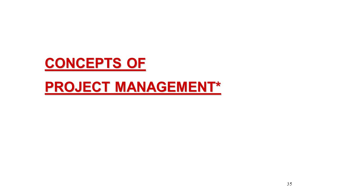 CONCEPTS OF PROJECT MANAGEMENT* 35