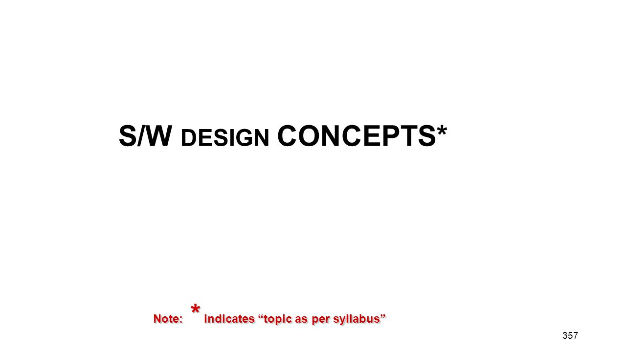 """357 S/W DESIGN CONCEPTS* Note: * indicates """"topic as per syllabus"""""""