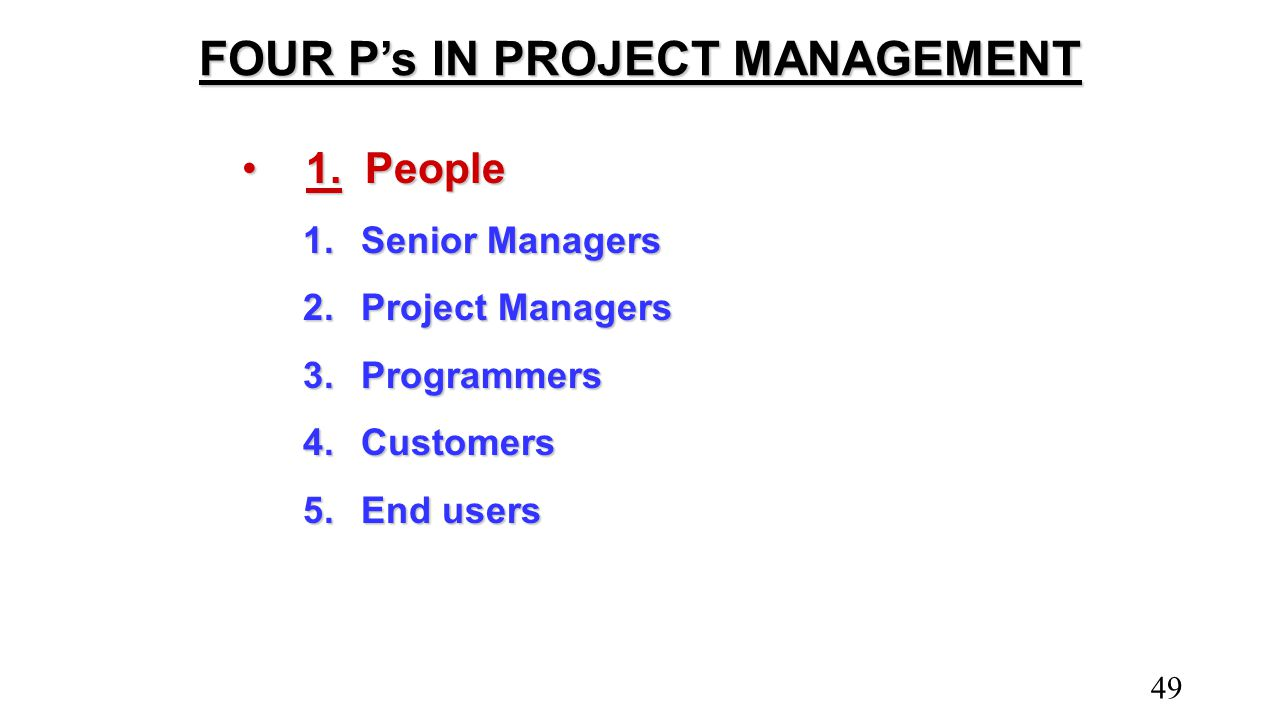 FOUR P's IN PROJECT MANAGEMENT 1.People1.People 1.Senior Managers 2.Project Managers 3.Programmers 4.Customers 5.End users 49
