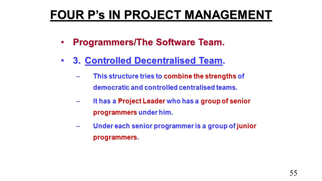 FOUR P's IN PROJECT MANAGEMENT Programmers/The Software Team.Programmers/The Software Team. 3.Controlled Decentralised Team.3.Controlled Decentralised