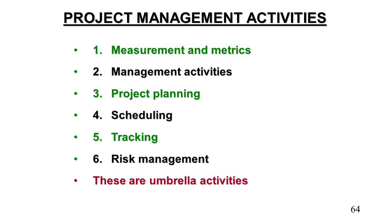 PROJECT MANAGEMENT ACTIVITIES 1.Measurement and metrics1.Measurement and metrics 2.Management activities2.Management activities 3.Project planning3.Pr