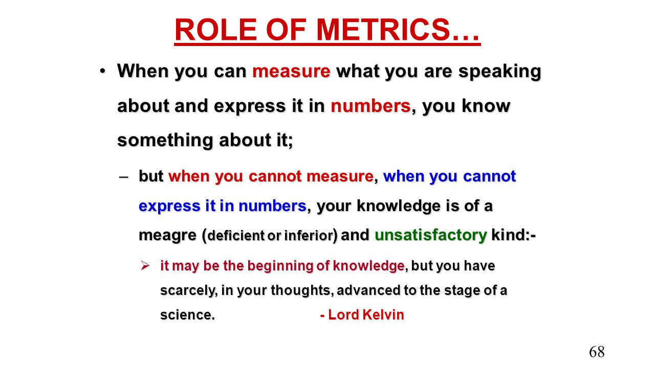 ROLE OF METRICS… When you can measure what you are speaking about and express it in numbers, you know something about it;When you can measure what you