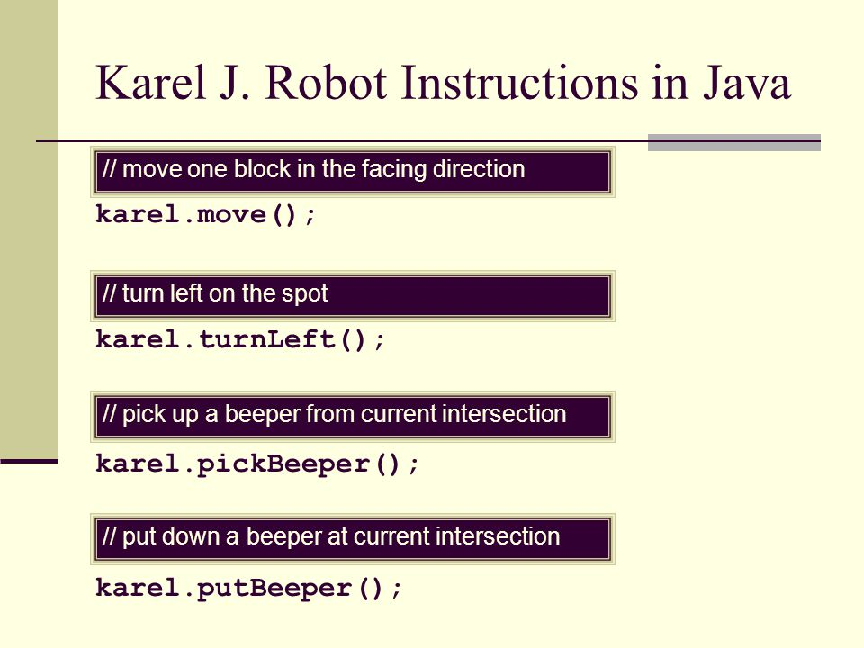 Karel J. Robot Instructions in Java karel.move(); karel.turnLeft(); karel.pickBeeper(); karel.putBeeper(); // move one block in the facing direction /