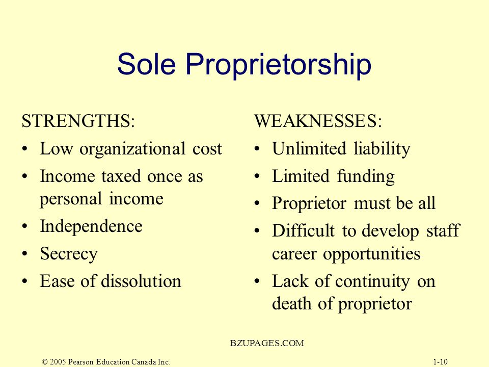 © 2005 Pearson Education Canada Inc. BZUPAGES.COM 1-9 Basic Forms of Business Organization Sole Proprietorship –Owned by one person, operated for pers