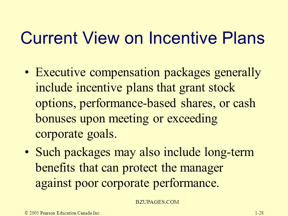 © 2005 Pearson Education Canada Inc. BZUPAGES.COM 1-27 Resolving the Agency Problem Good corporate governance by the Board of Directors is the heart o