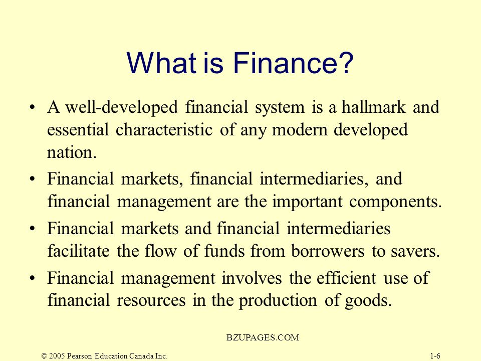 © 2005 Pearson Education Canada Inc. BZUPAGES.COM 1-5 What is Finance? Working Capital Working Capital Investment Decisions Financing Decisions Macro
