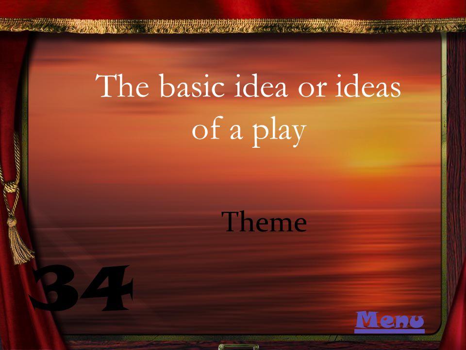The basic idea or ideas of a play 34 Theme Menu
