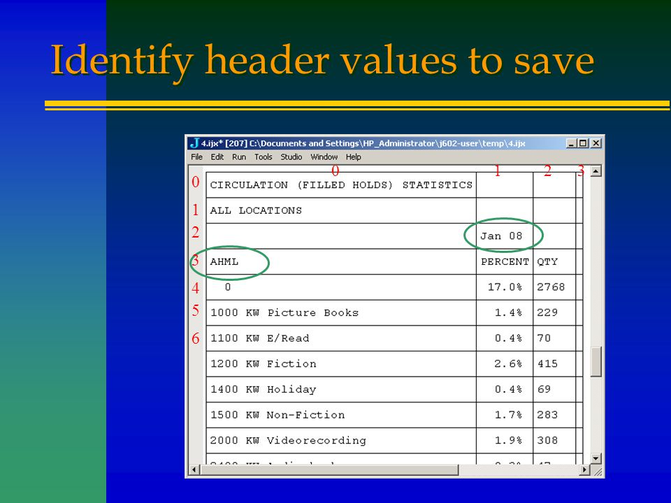 Identify header values to save 0123 0 1 2 3 4 5 6