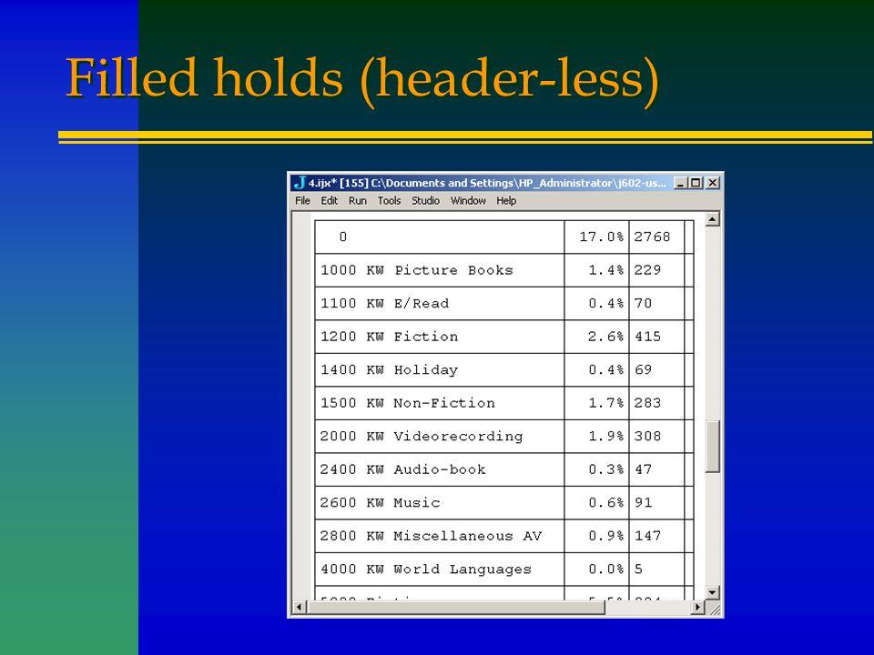 Filled holds (header-less)
