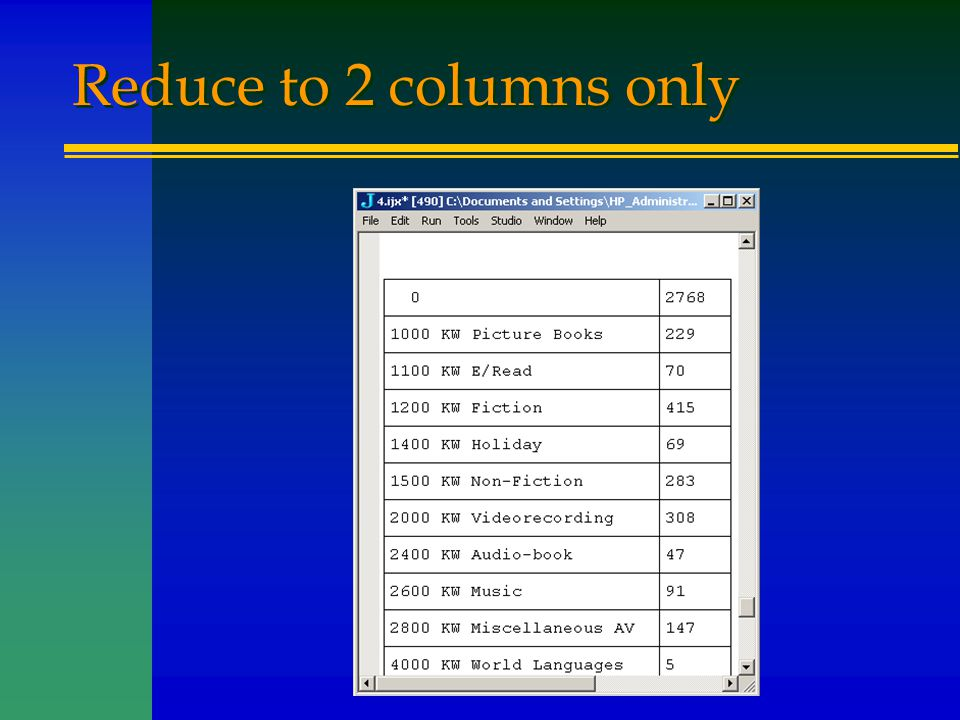 Reduce to 2 columns only