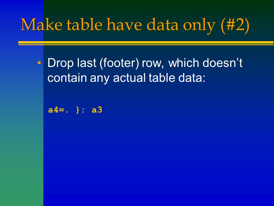 Make table have data only (#2) Drop last (footer) row, which doesn't contain any actual table data: a4=. }: a3