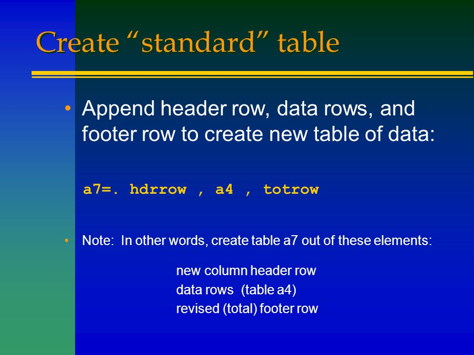 """Create """"standard"""" table Append header row, data rows, and footer row to create new table of data: a7=. hdrrow, a4, totrow Note: In other words, create"""