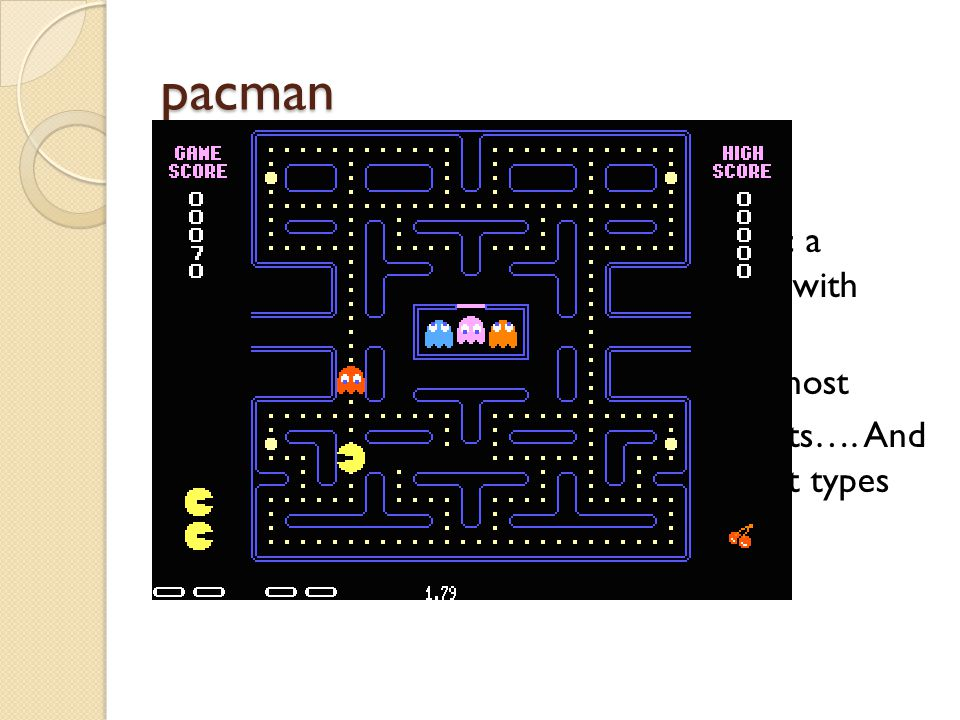 pacman Our final karel experience: ◦ 1 st – set up the robot world to mimic a pacman world (karel images replaces with pacman, etc.) ◦ 2 nd – create a