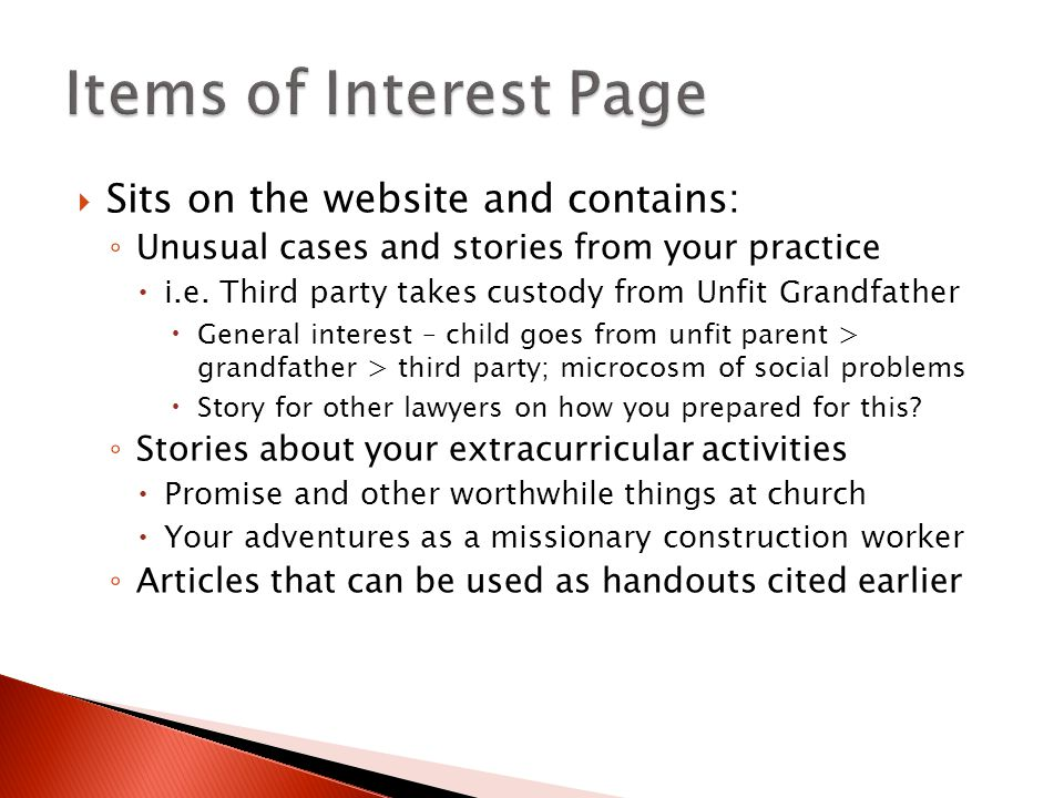  Sits on the website and contains: ◦ Unusual cases and stories from your practice  i.e.