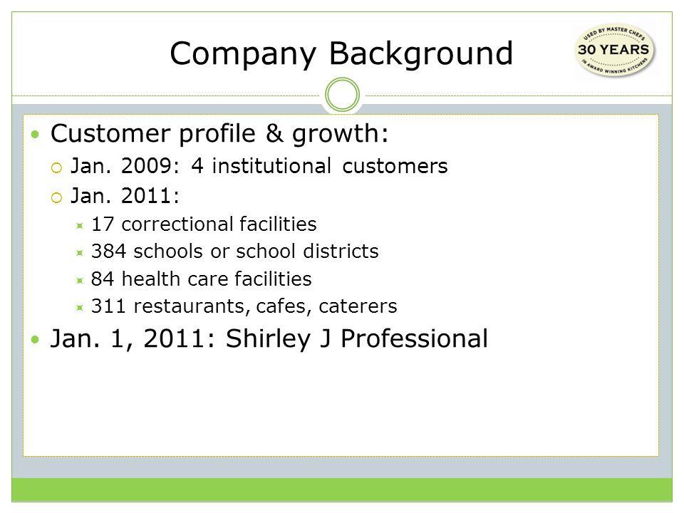 Company Background Customer profile & growth:  Jan.