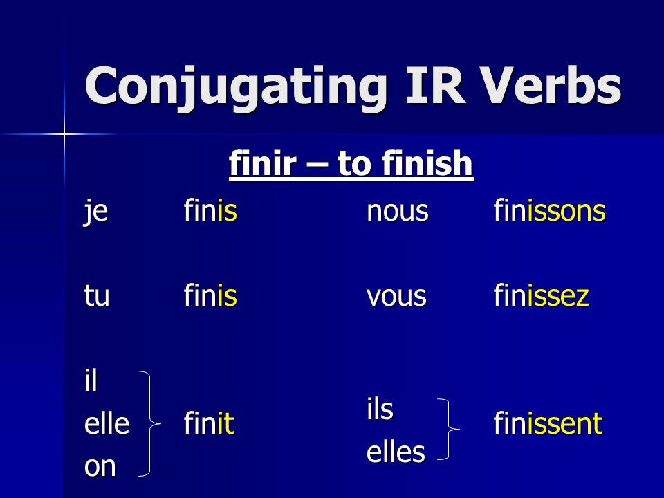Conjugating IR Verbs jetuilelleonnousvousilselles finir – to finish finfinfinfinfinfinisisitissonsissezissent
