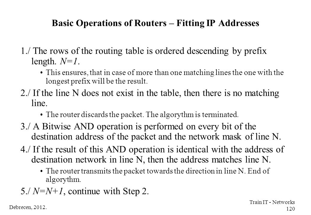 Debrecen, 2012. Train IT - Networks 120 Basic Operations of Routers – Fitting IP Addresses 1./ The rows of the routing table is ordered descending by