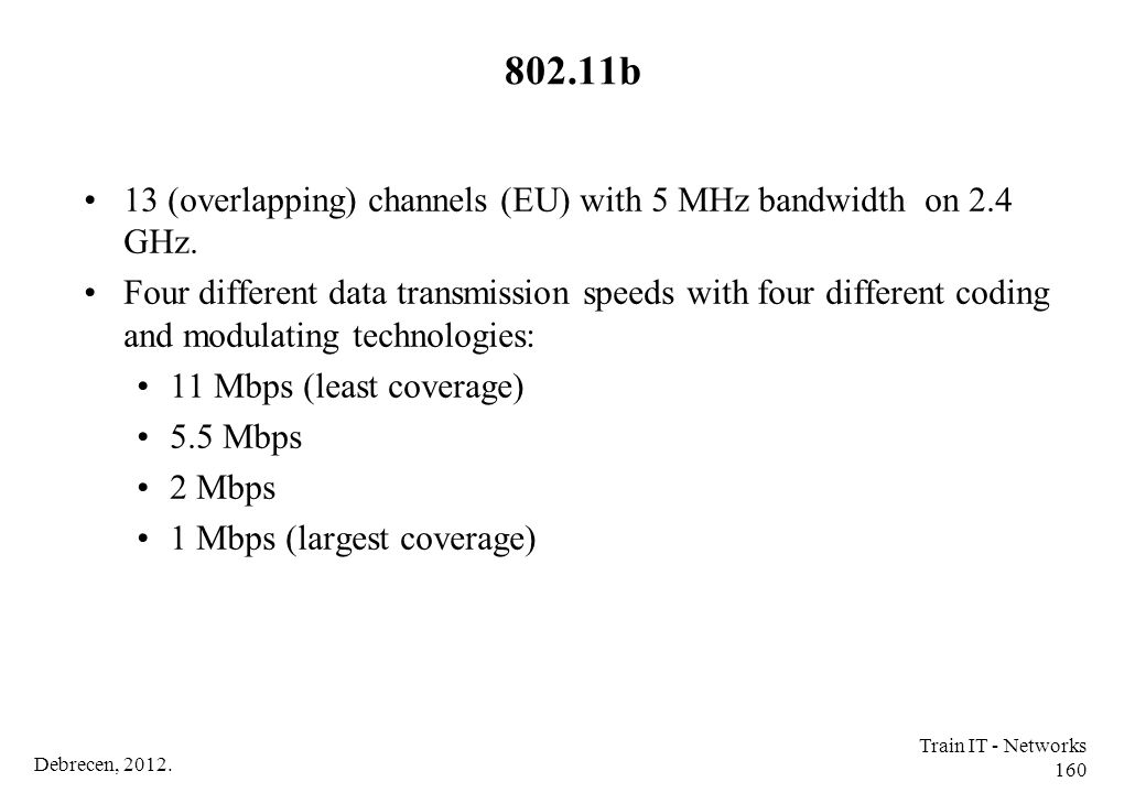 Debrecen, 2012. Train IT - Networks 160 802.11b 13 (overlapping) channels (EU) with 5 MHz bandwidth on 2.4 GHz. Four different data transmission speed