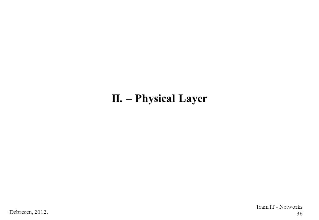 Debrecen, 2012. Train IT - Networks 36 II. – Physical Layer