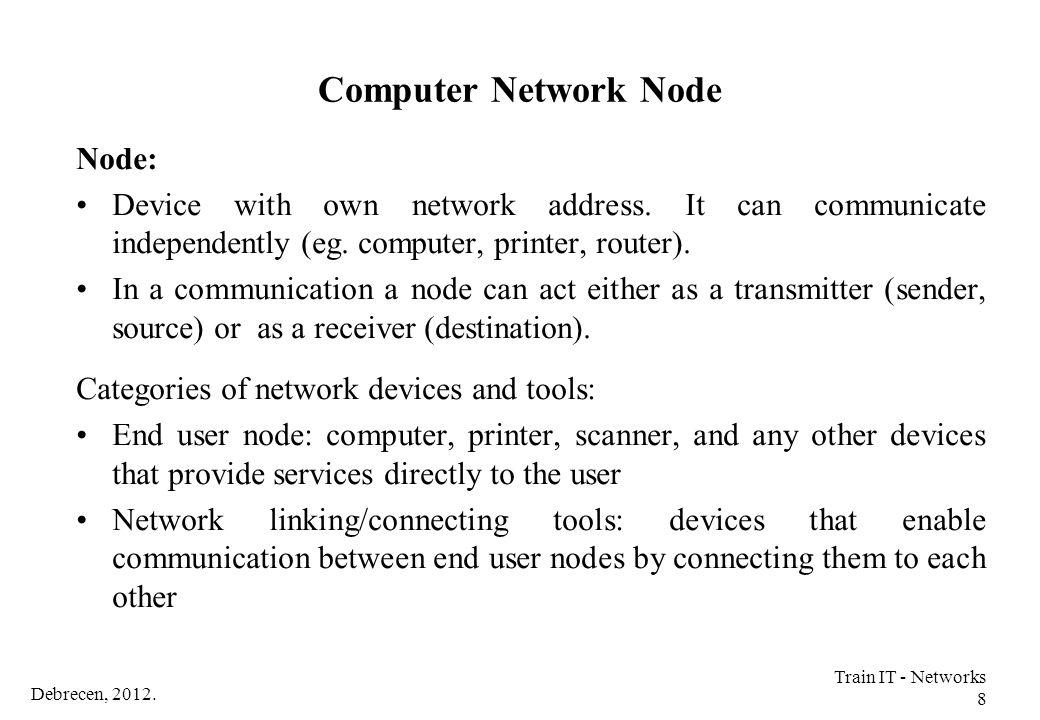 Debrecen, 2012. Train IT - Networks 149 Wireless Network Technologies