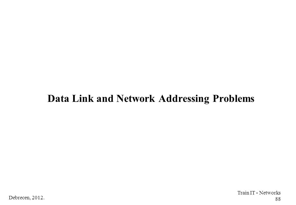 Debrecen, 2012. Train IT - Networks 88 Data Link and Network Addressing Problems