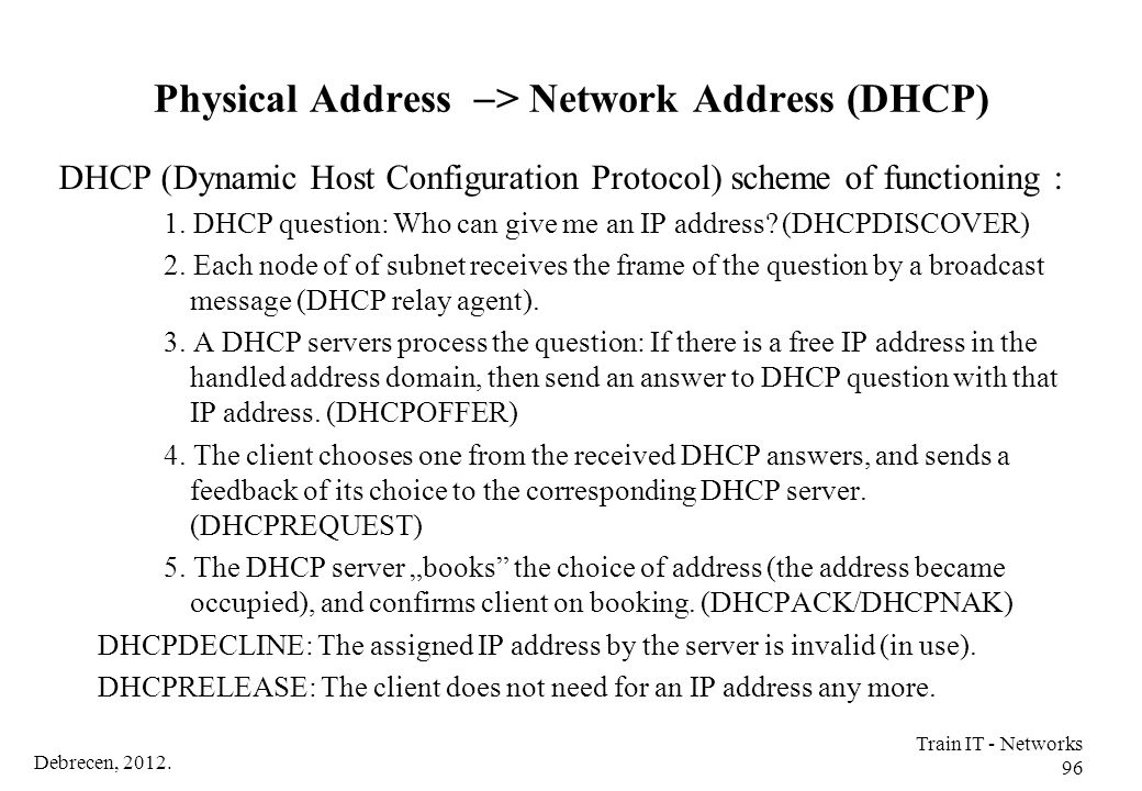 Debrecen, 2012. Train IT - Networks 96 Physical Address  > Network Address (DHCP) DHCP (Dynamic Host Configuration Protocol) scheme of functioning :