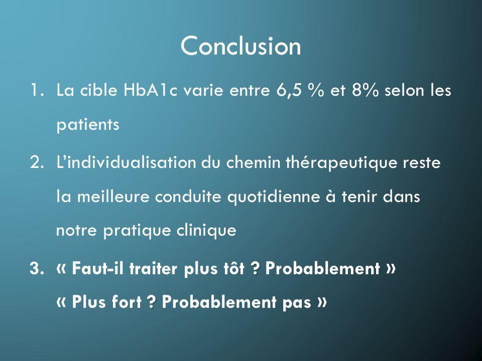Conclusion 1.La cible HbA1c varie entre 6,5 % et 8% selon les patients 2.L'individualisation du chemin thérapeutique reste la meilleure conduite quotidienne à tenir dans notre pratique clinique .