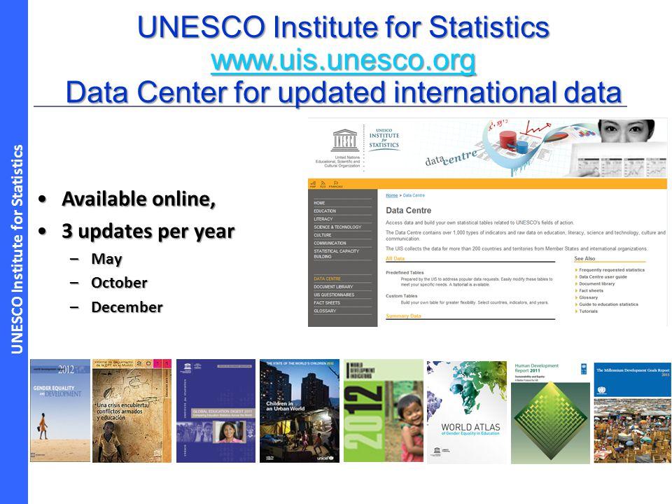 UNESCO Institute for Statistics Available online,Available online, 3 updates per year3 updates per year –May –October –December UNESCO Institute for S