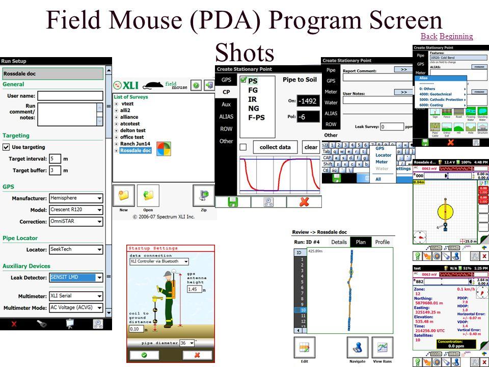 Field Mouse (PDA) Program Screen Shots BackBack BeginningBeginning