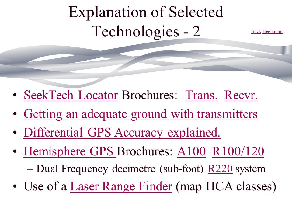 Explanation of Selected Technologies - 2 SeekTech Locator Brochures: Trans. Recvr.SeekTech LocatorTrans.Recvr. Getting an adequate ground with transmi