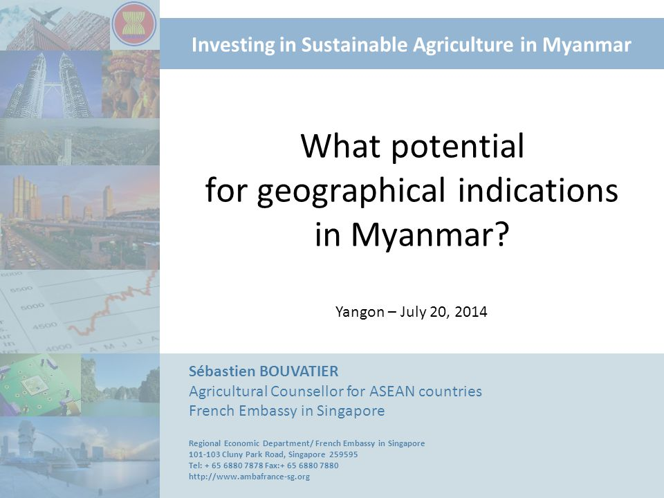 Investing in Sustainable Agriculture in Myanmar What potential for geographical indications in Myanmar? Sébastien BOUVATIER Agricultural Counsellor fo