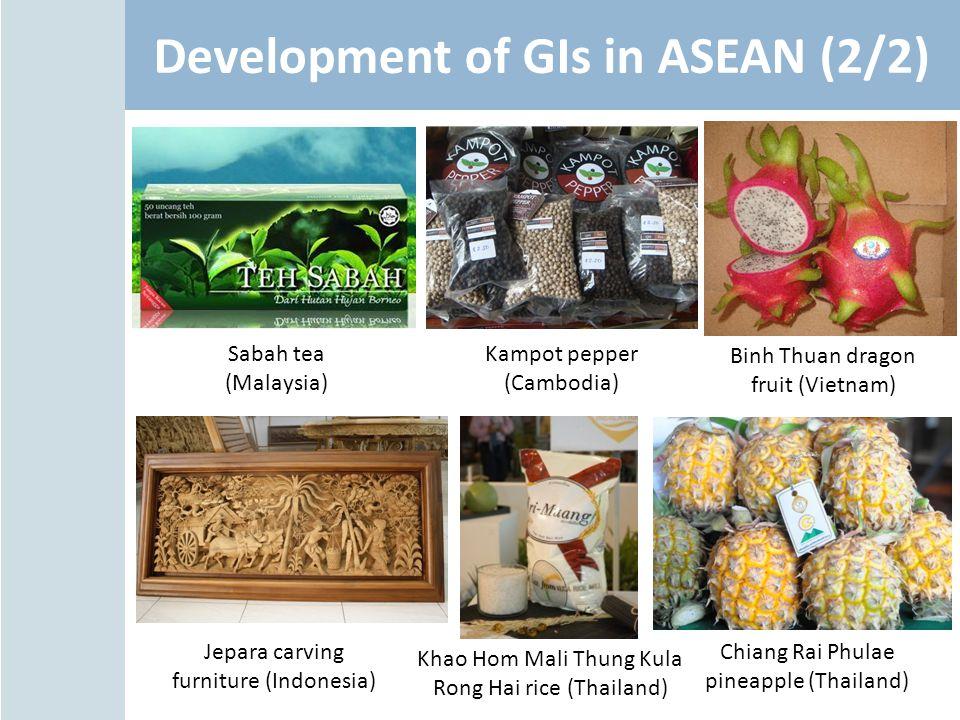 Development of GIs in ASEAN (2/2) Jepara carving furniture (Indonesia) Khao Hom Mali Thung Kula Rong Hai rice (Thailand) Chiang Rai Phulae pineapple (