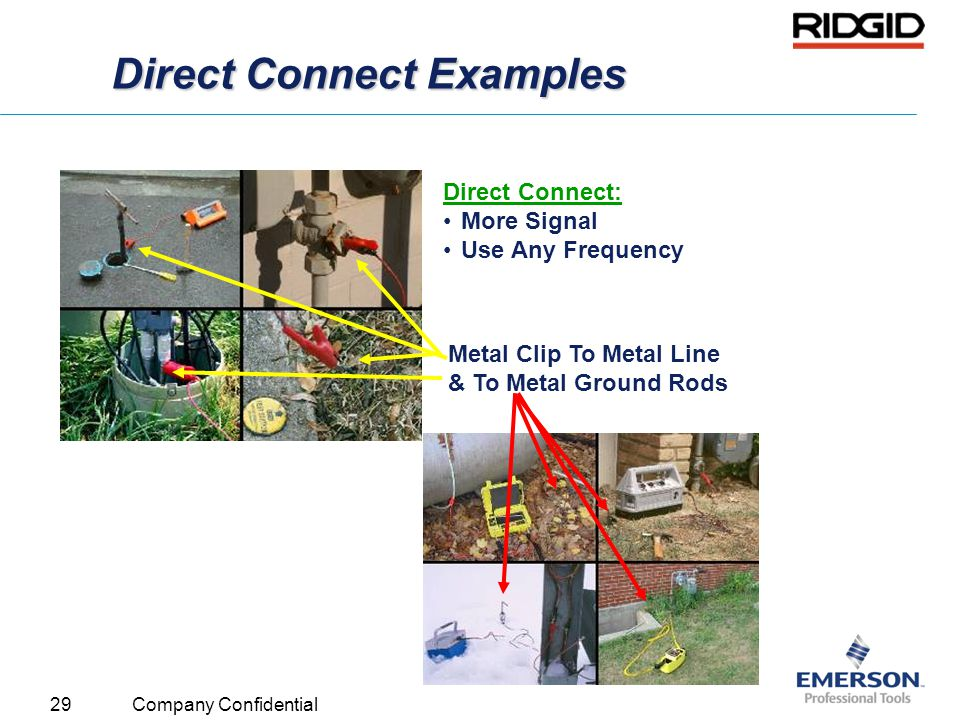 29 Company Confidential Direct Connect Examples Metal Clip To Metal Line & To Metal Ground Rods Direct Connect: More Signal Use Any Frequency