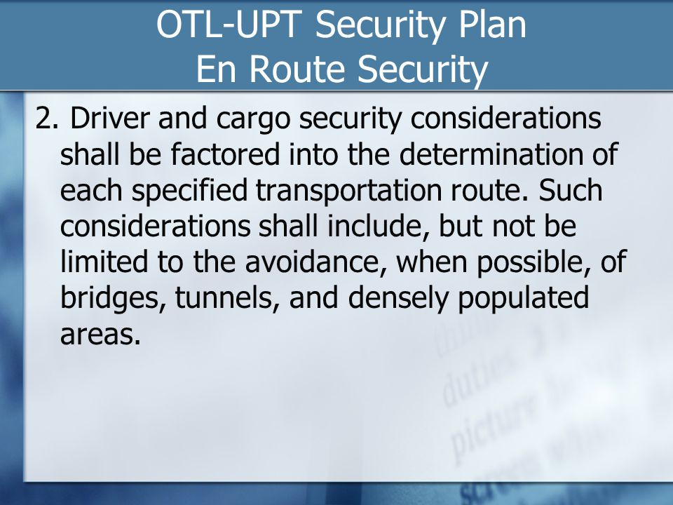 OTL-UPT Security Plan En Route Security 2.