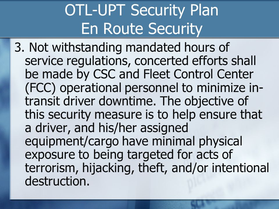 OTL-UPT Security Plan En Route Security 3.