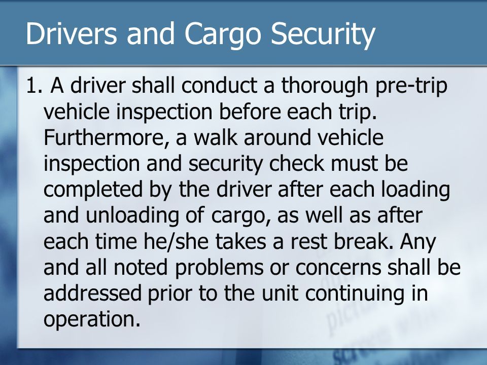 Drivers and Cargo Security 1.